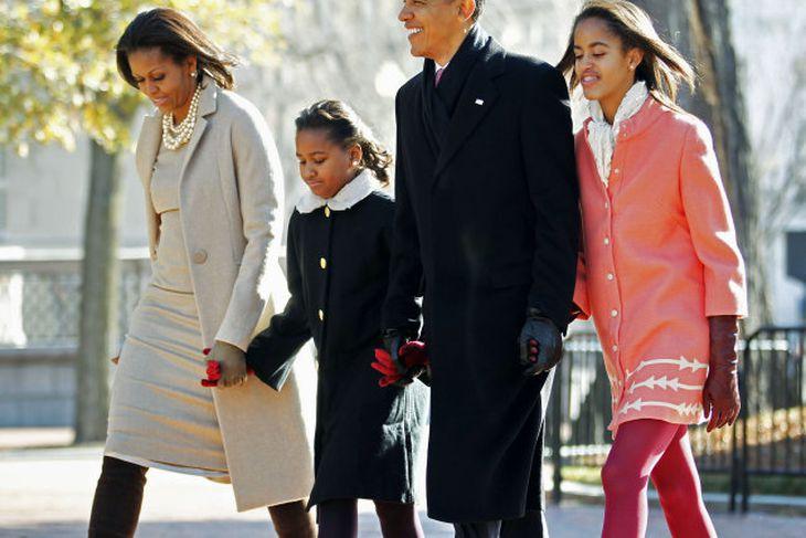 Forsetahjónin Barack og Michelle Obama, ásamt dætrunum Söshu og Maliu.