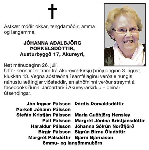 Jóhanna Aðalbjörg Þorkelsdóttir,