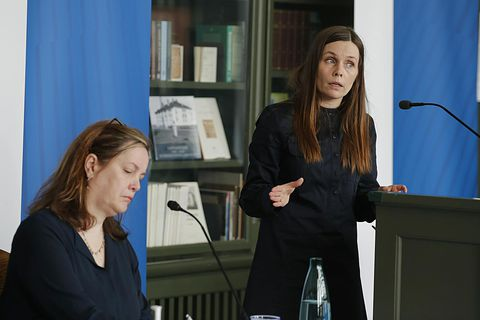 Minister of Health Svandís Svavarsdóttir, left, and Prime Minister Katrín Jakobsdóttir, at the press conference.