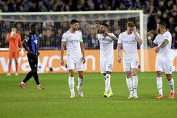 Leikmenn Manchester City fagna marki í Brugge í gærkvöldi.