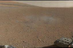 Frá Gale-gígnum sem Forvitni lenti í á Mars.
