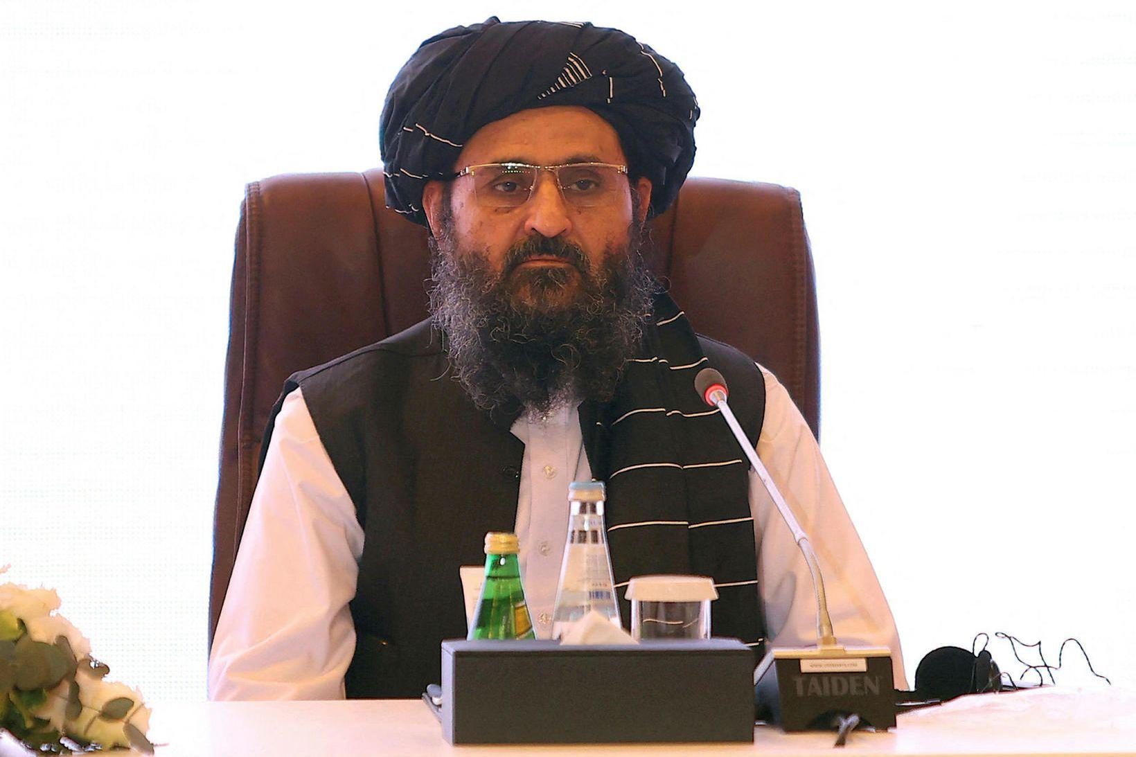 Mullah Abdul Ghani Baradar, einn af stofnendum talíbana og vara …