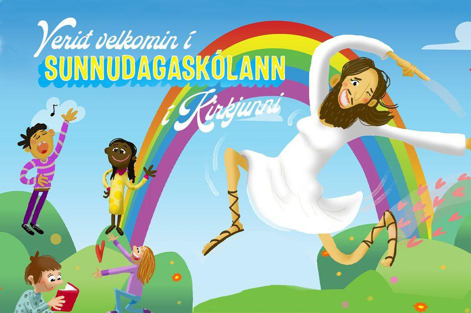Auglýsingin sýnir Jesú með skegg, brjóst og andlitsfarða.