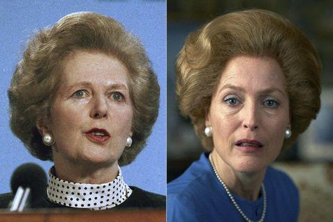 Margaret Thatcher og Gillian Anderson í hlutverki Thatcher í The Crown.