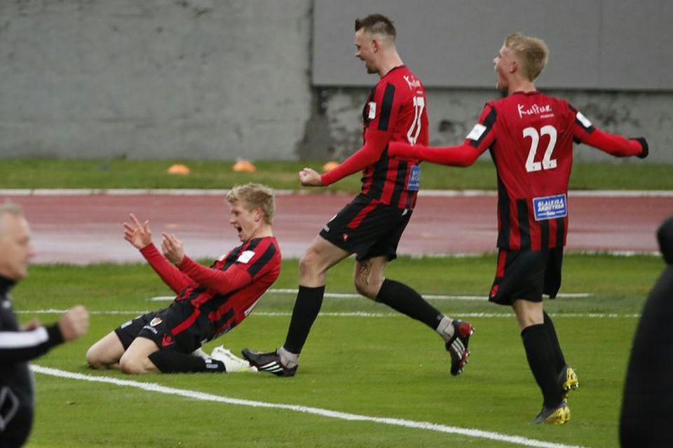 Óttar Magnús Karlsson fagnar marki sínu fyrir Víkinga á Laugardalsvellinum í dag.