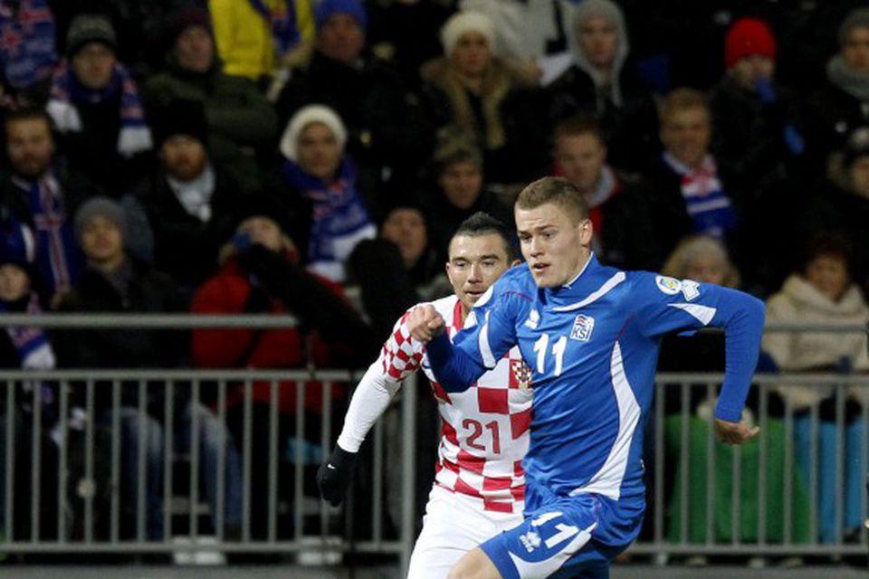 Alfreð Finnbogason og Danijel Pranjic