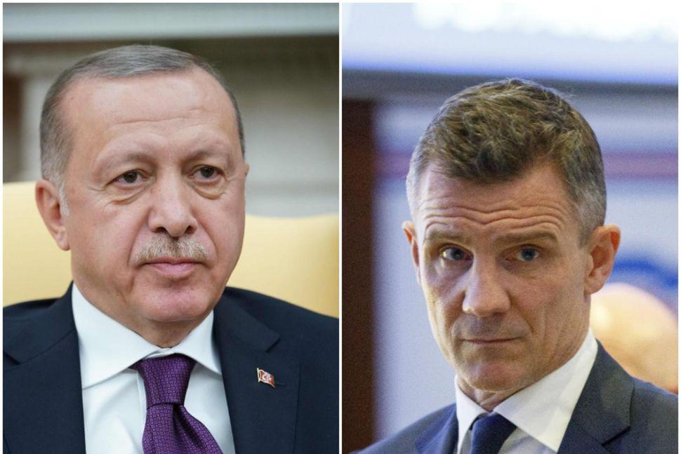 Recep Tayyip Erdogan Tyrklandsforseti og Guðni Bergsson formaður KSÍ.