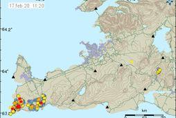 Yfir 70 skjálftar hafa verið staðsettir á Reykjanestánni en virkni þar hófst aðfaranótt sunnudags.