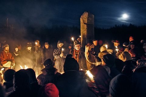 Members of the Ásatrú society, pictured here at Öskjuhlíð for their Winter Solstice ceremony in December.