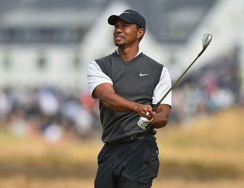 Tiger Woods á Carnoustie í dag.