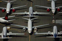 Kyrrsettar Boeing 737 MAX farþegaþotur í nágrenni höfuðstöðva Boeing í Seattle.