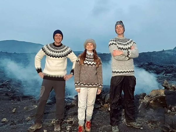 The threesome, wearing Icelandic lopi sweaters.
