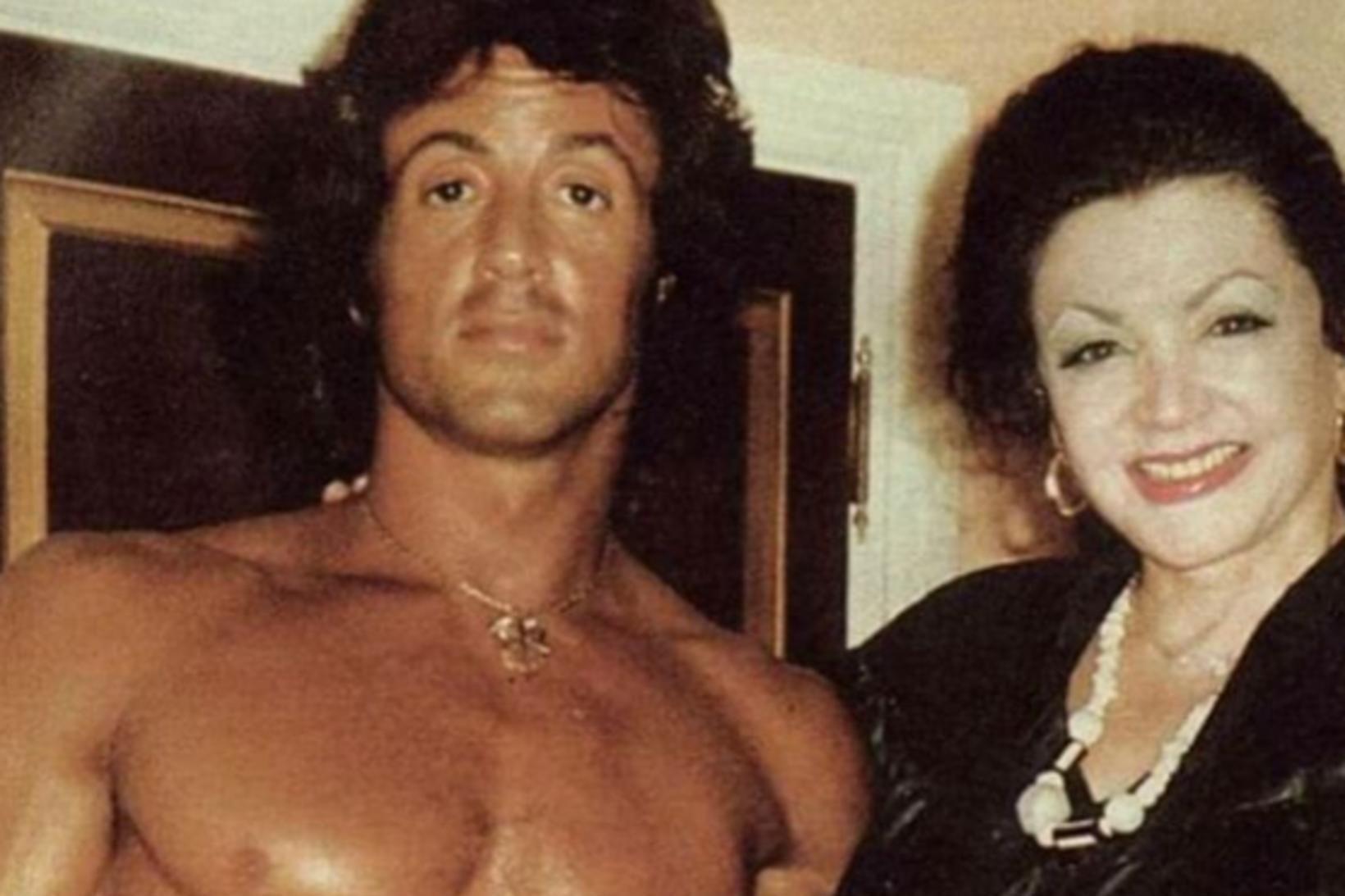 Sylvester Stallone ásamt móður sinni, Jackie Stallone.