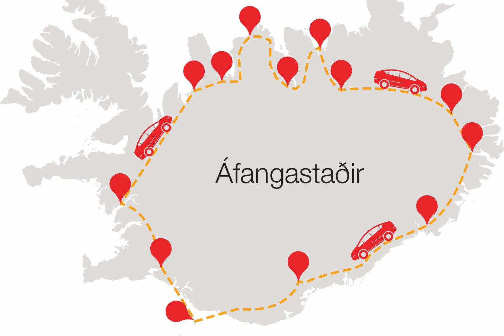 Áfangastaðir Heklu-bílanna í hringferðinni.