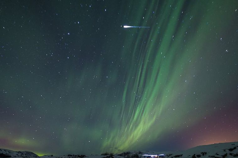 An Iridium flare is seen here in the upper part of the photograph, to the ...