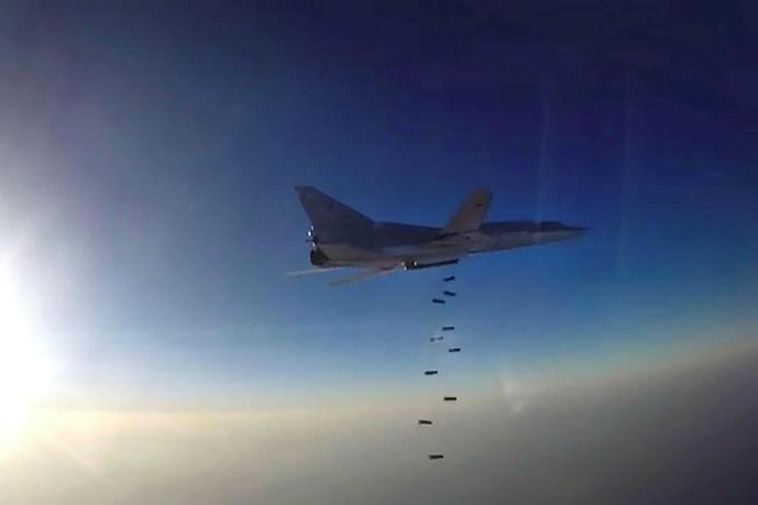A Russian Tupolev Tu-22M3 dropping bombs over Syria.