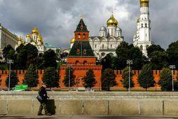 Borgarvirkið Kreml í miðri Moskvuborg.