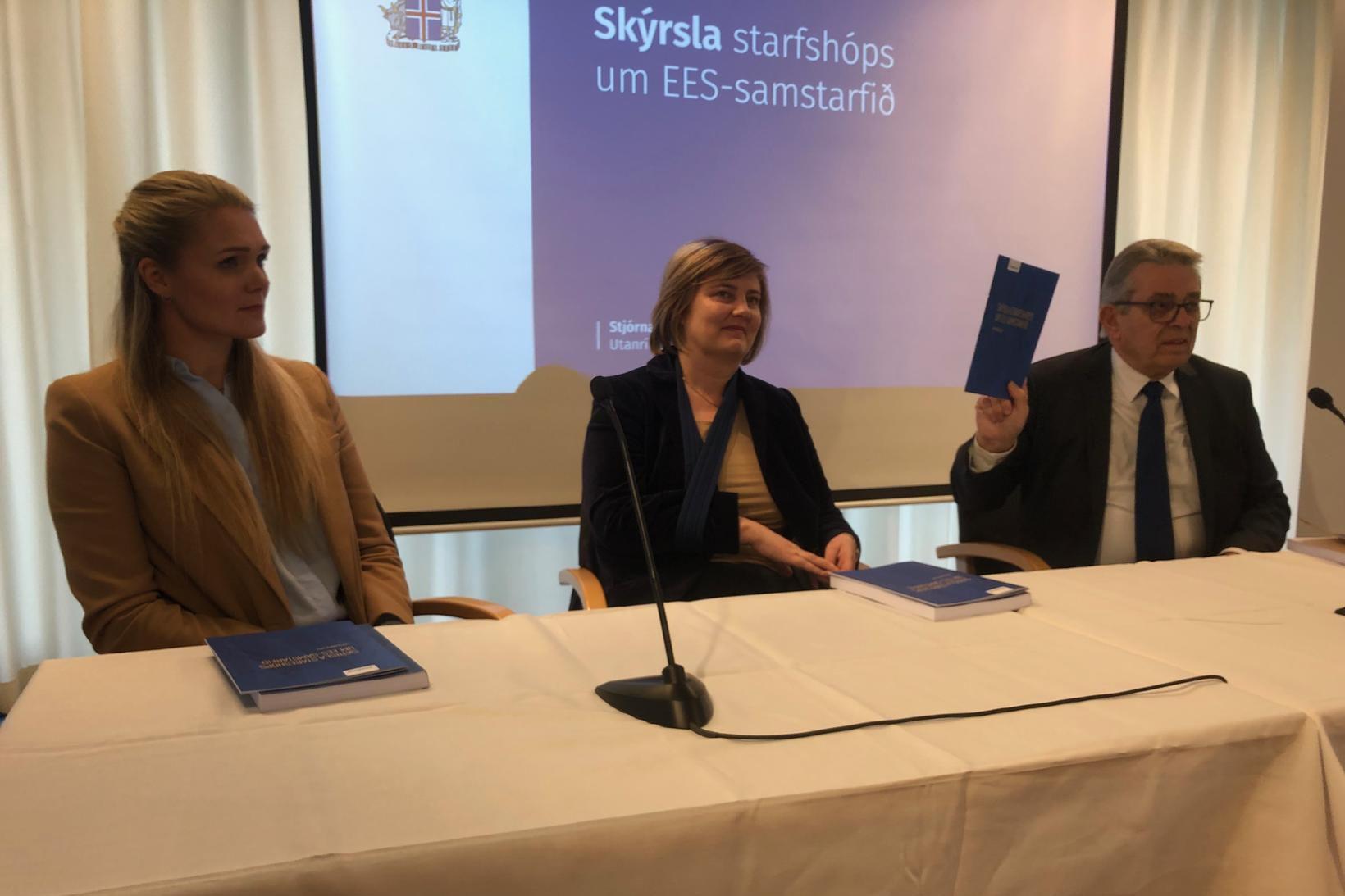 Starfshópur um EES-samstarfið. Frá vinstri: Bergþóra Halldórsdóttir, Kristrún Heimisdóttir og …