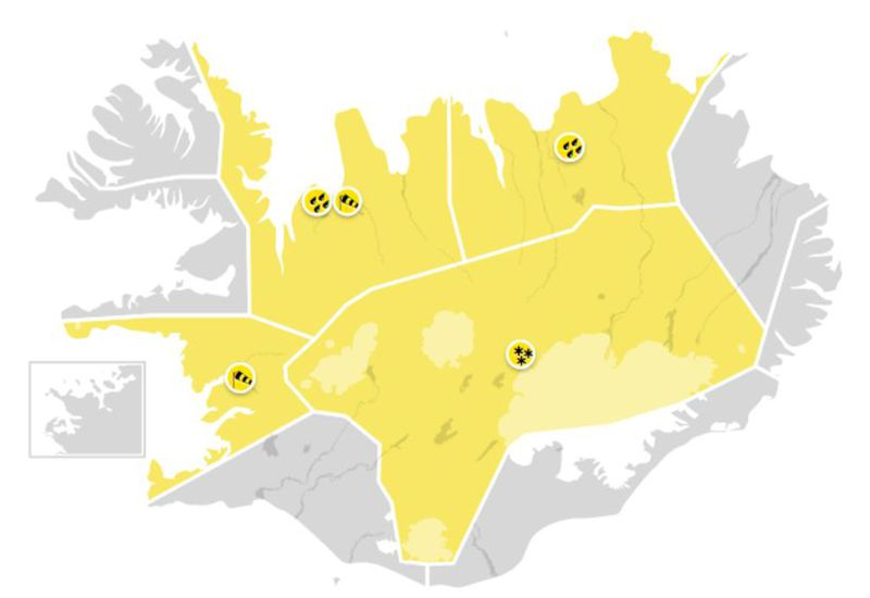 A yellow alert is in effect for a large part of the country.