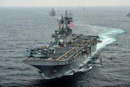 USS Boxer herskip bandaríska sjóhersins skaut niður íranskan dróna.