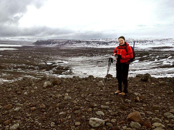 Geologist Haraldur Gunnarsson at Eystri-Hagafellsjökull, a glacier that has retreated by 700 metres in the space of one year.