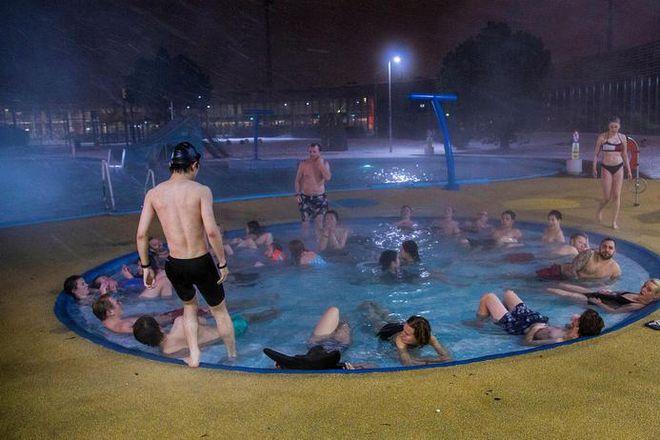 Laugardalslaug geothermal swimming pool in Reykjavik.