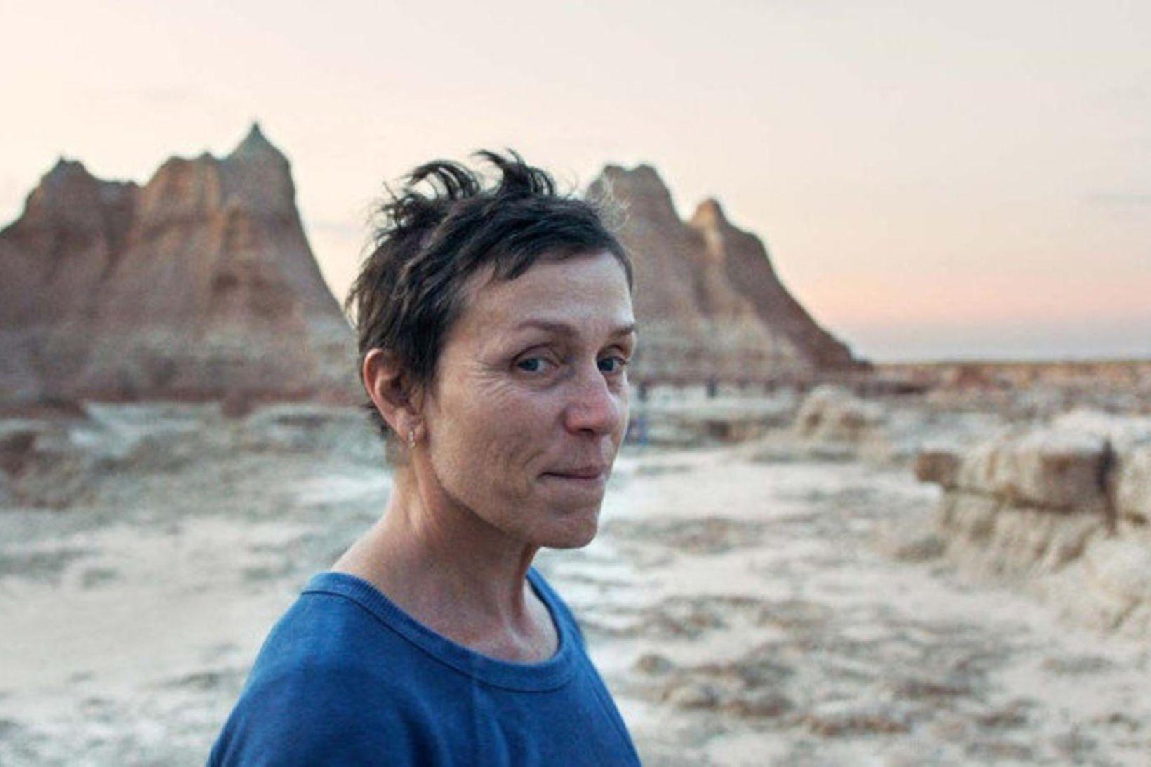 Frances McDormand í Nomadland sem sýnd verður í Bíó Paradís.
