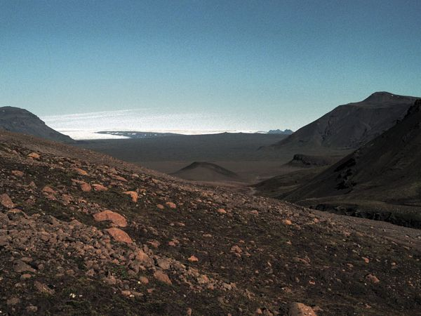 From the highlands south of Langjökull glacier, south of the area where the rover will be tested.