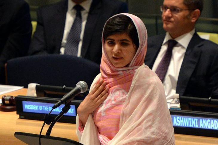 Malala Yousafzai á allsherjarþingi Sameinuðu þjóðanna.