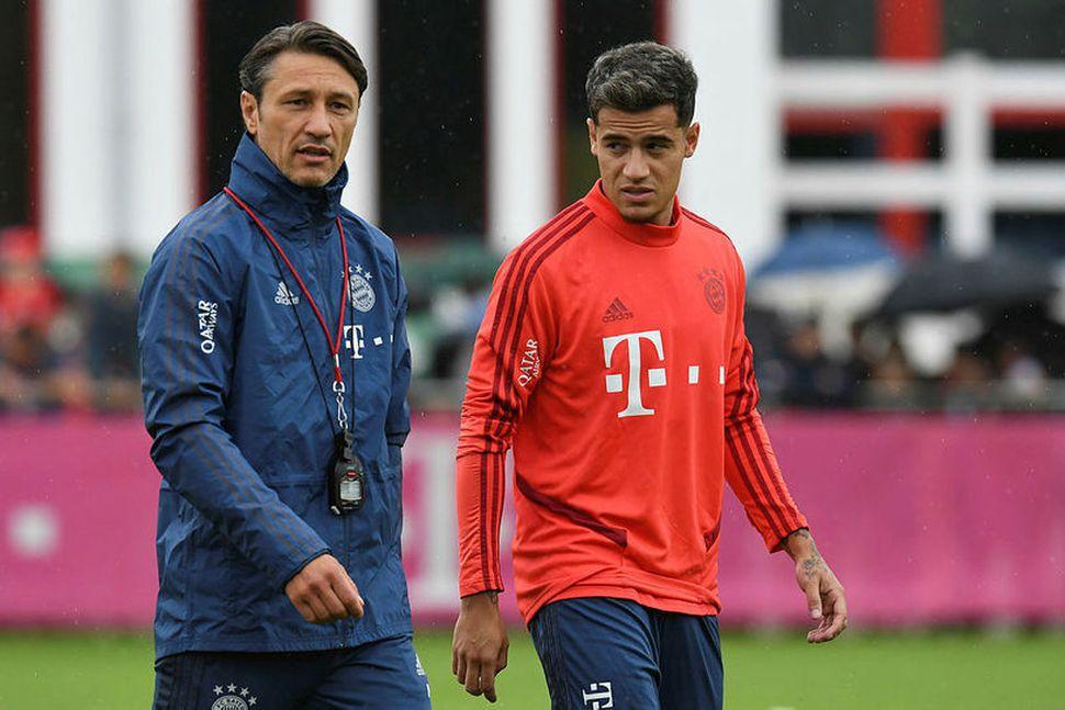 Philippe Coutinho var mættur á sínu fyrstu æfingu með Bayern ...