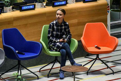 Greta Thunberg ávarpaði fyrsta Ungmennaþing Sameinuðu þjóðanna um loftslagsmál í höfuðstöðvum SÞ í New York ...