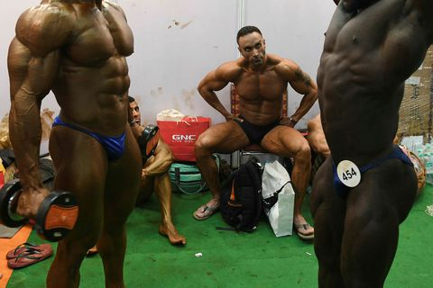 The picture is from a body-building contest in India.