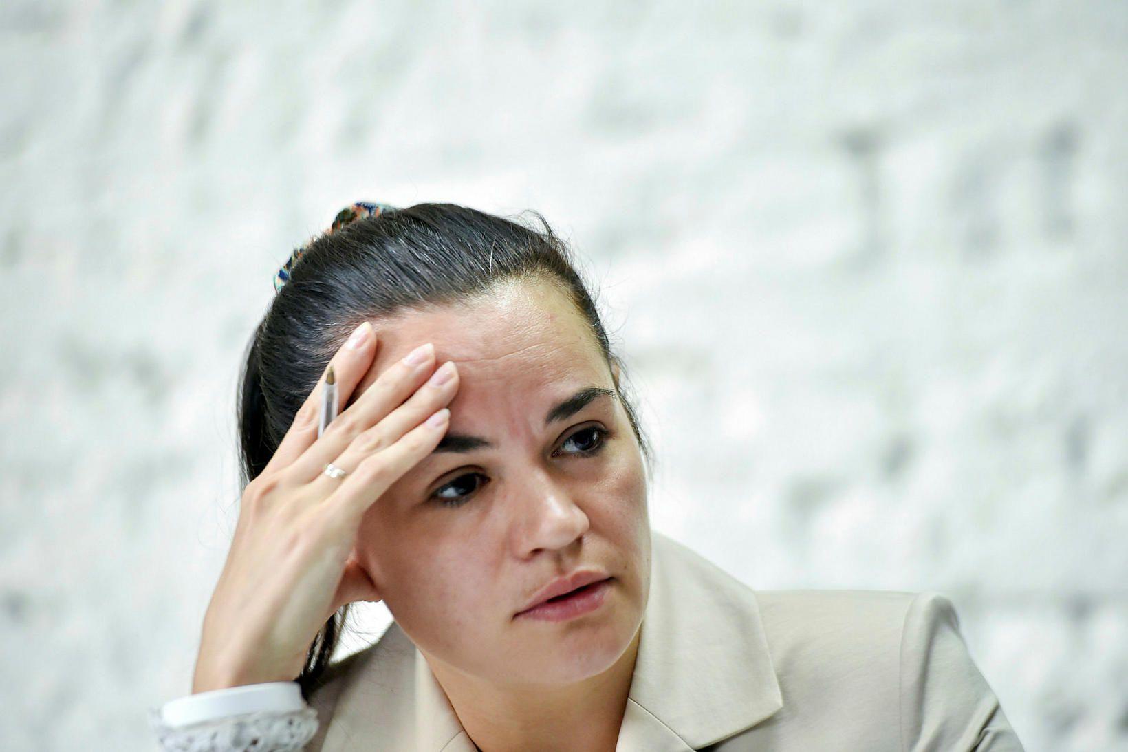 Svetlana Tikhanovskaya á blaðamannafundi að loknum kosningunum.