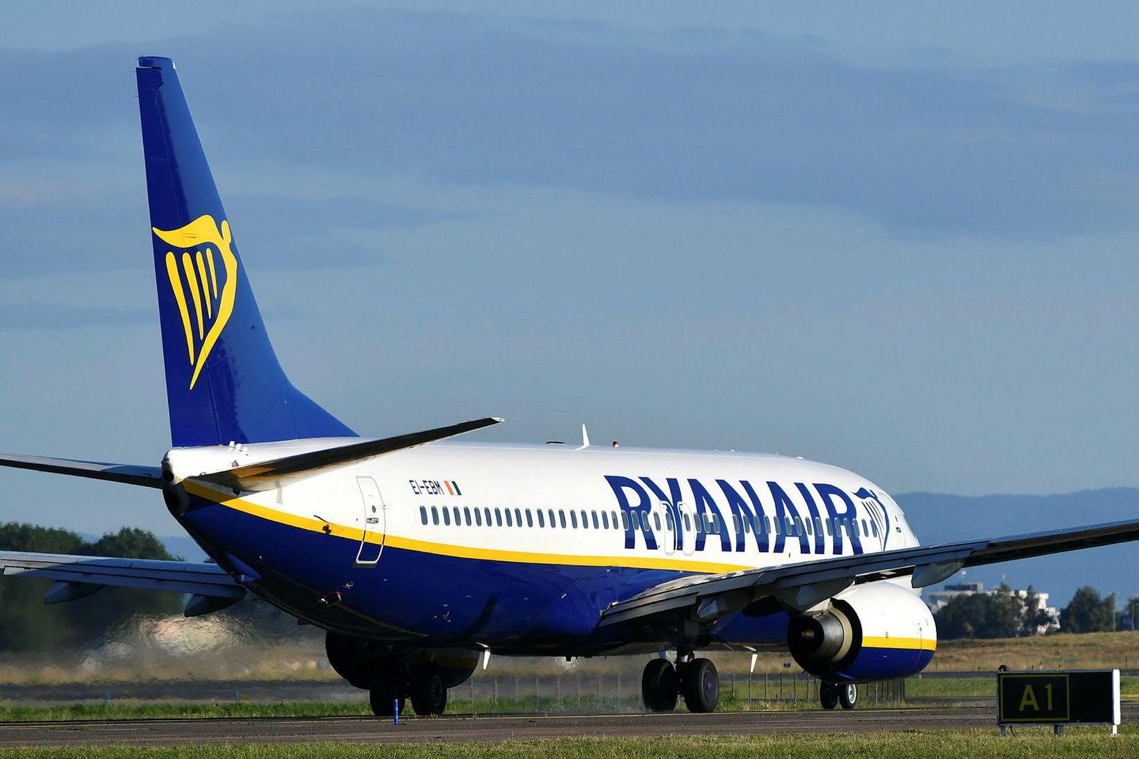 Boeing 737-vél frá Ryanair á Fiumicino-flugvellinum í Róm í fyrra.