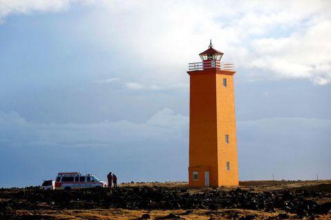 The body of Birna Brjánsdóttir was washed up near this lighthouse on the Reykjanes peninsula.