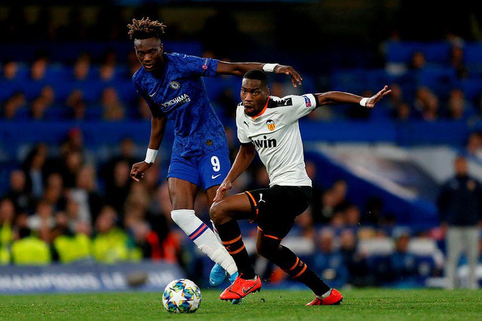 Tammy Abraham í leiknum gegn Valencia á Stamford Bridge í ...