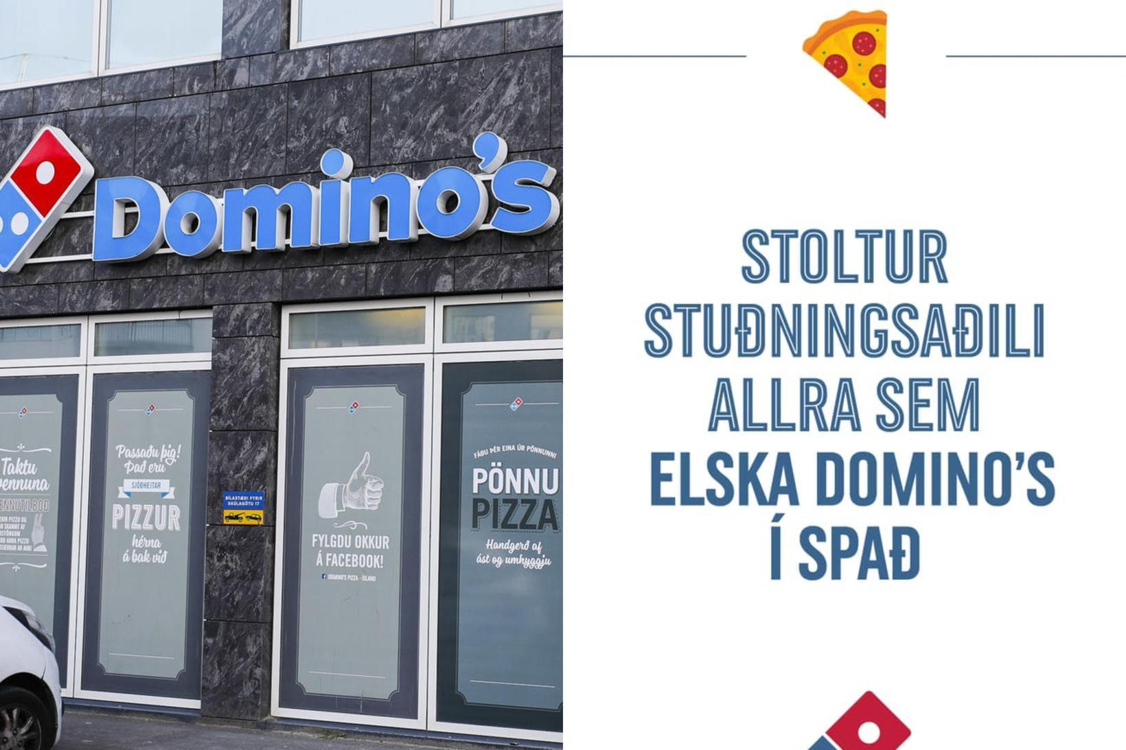 Auglýsingin birtist á samfélagsmiðlum Domino's á Íslandi í kvöld.