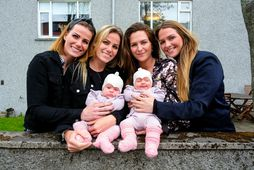 From left: the twins Sara and Klara (the midwife); Rakel (the twin's mother) and Rebekka. …