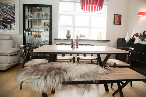 The dining room table is from Happie furniture.