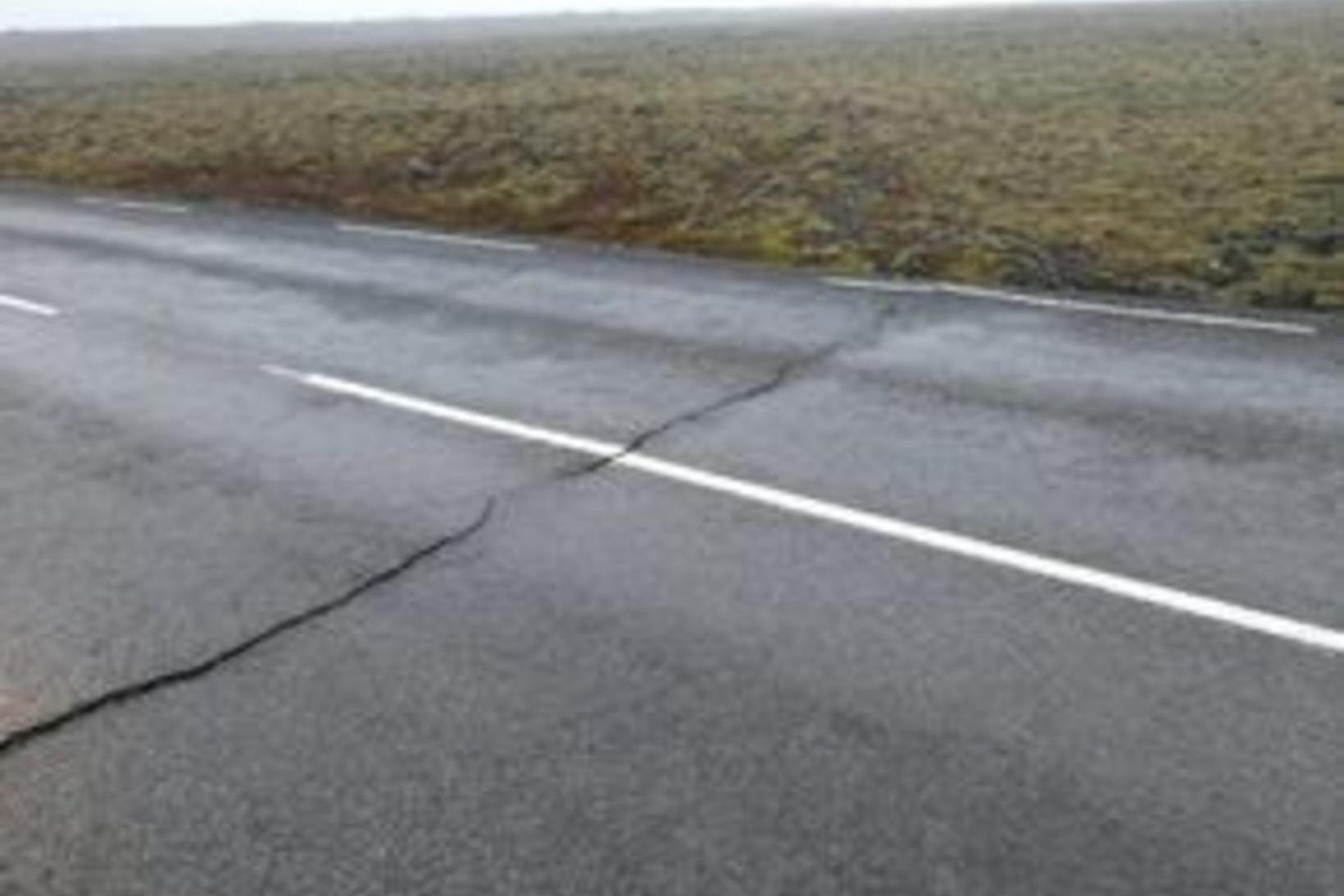 Sprunga á Suðurstrandarvegi.