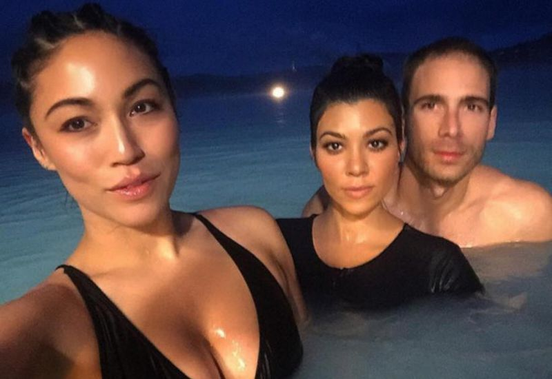 Simon Huck published this photo on his Instagram. On the photo with him are Kourtney Kardashian and Kim's assistant, Stephanie Sheppherd.