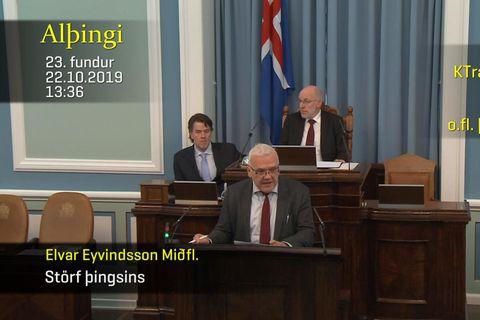 Elvar Eyvindsson, varaþingmaður Miðflokksins, taldi upp hin ýmsu forréttindi sem fylgja því að taka sæti ...