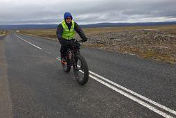 Óskar Þór Guðmundsson á Fljótsdalsheiðinni í dag.