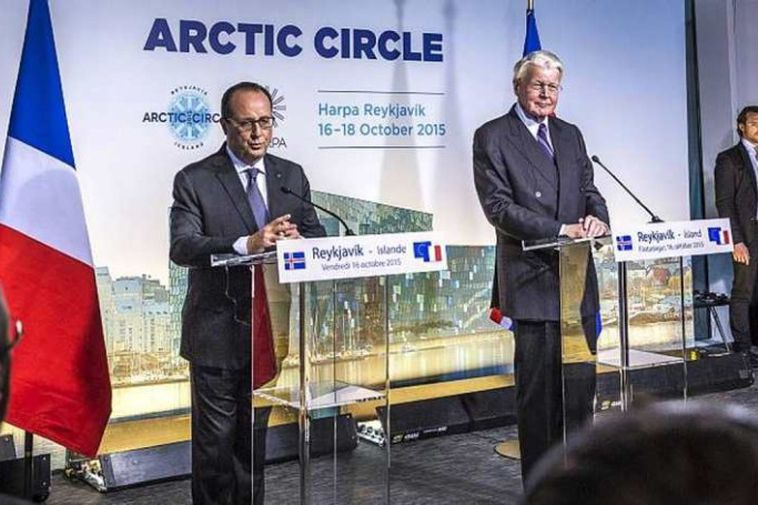 The Presidents of France and Iceland addressing the Arctic Circle conference.