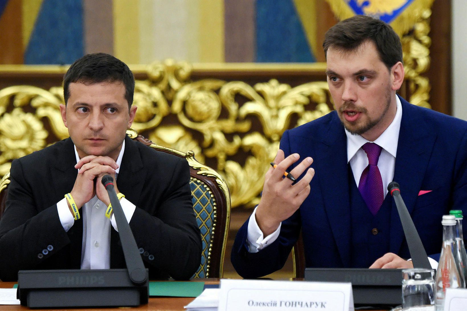 Volodymyr Zelensky, forseti Úkraínu, og forsætisráðherrann Oleksiy Goncharuk.