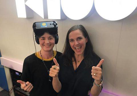 Þóra Björk hér með Oculus GO og Tristan ánægð með sigur Flow VR í Gullegginu 2018.