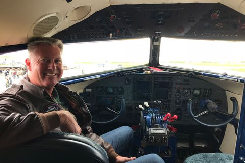 Captain Jeff Coffman in the cockpit of The Spirit of Benovia.