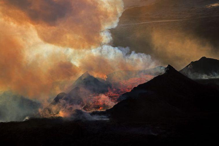 The sun shining through the smoke of the eruption.