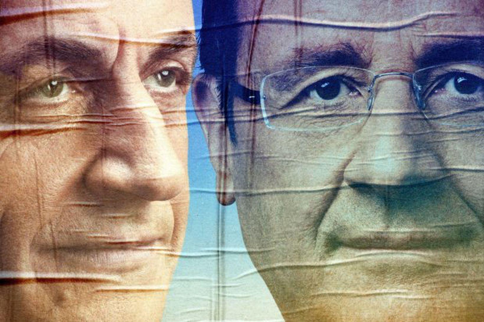 Veggspjald með andlitum Nicolas Sarkozy, forseta Frakklands, og Francois Hollande, …