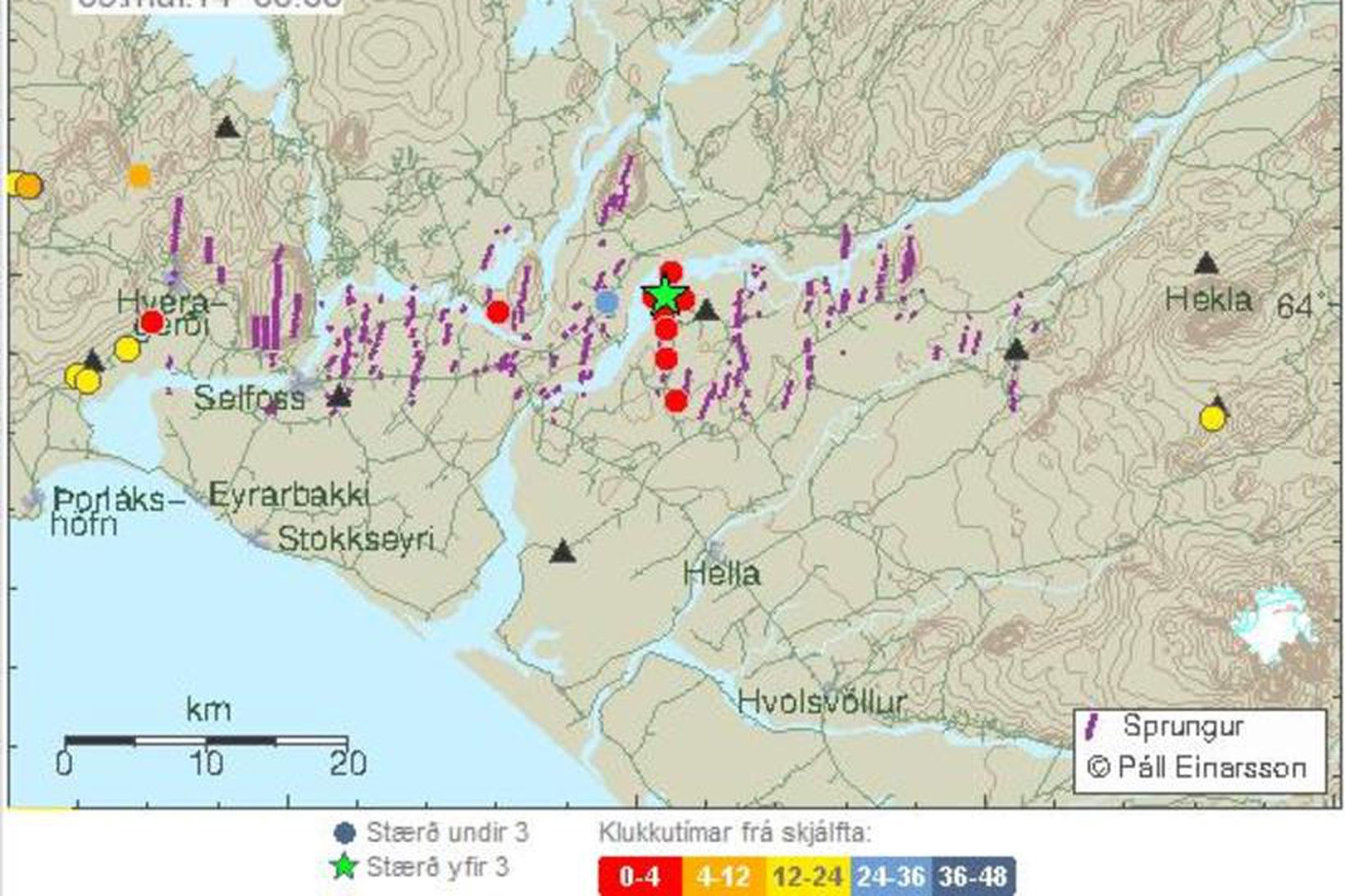Upptök skjálftans voru austsuðaustur af Hestfjalli í Grímsnesi.